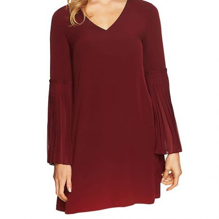 CeCe Womens Madeline – V-Neck Pleated Bell Sleeve