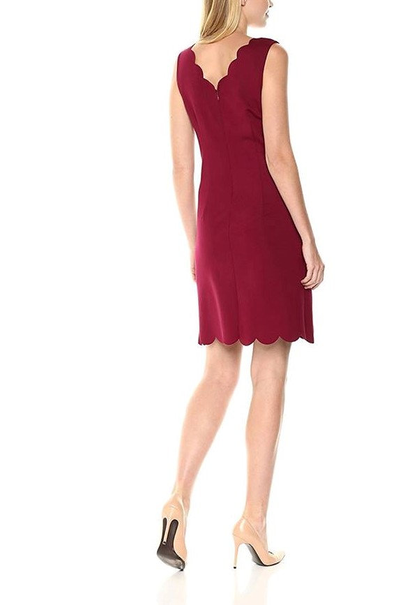 Nine West Women's Scalloped neck and hem dress bordeaux